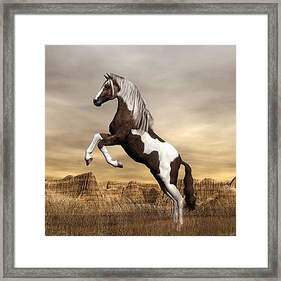 Framed Print featuring the digital art Mustang by Walter Colvin