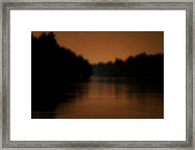 Muted River Moon Shine Framed Print by Artist Orange