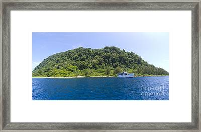 Mv Spirit Of Solomons Moored In Front Framed Print by Steve Jones