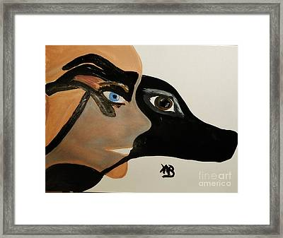 My Beloved Greyhound And Me Framed Print by Marie Bulger