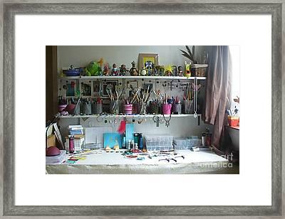 My Desk On A Slow Day Brooklyn Alien Art Framed Print by Kristi L Randall