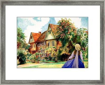 Framed Print featuring the painting My English Country Garden by Mary Morawska