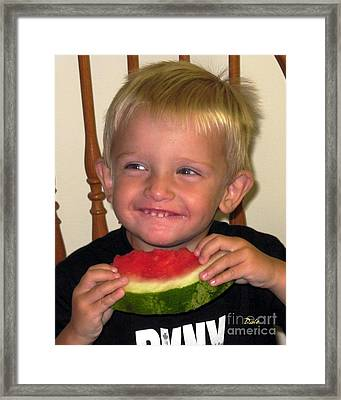 My First Watermelon Framed Print by Dale   Ford