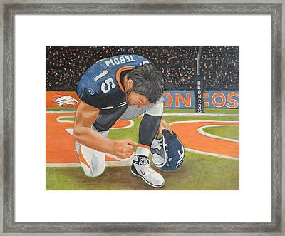 My Man Tebow Framed Print by Lynette Brown