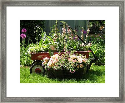My Red Wagon Framed Print by Tina Ann Byers