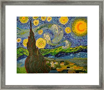 My Starry Night Inspired By The Master Vincent Van Gogh Framed Print by Evelyn SPATZ