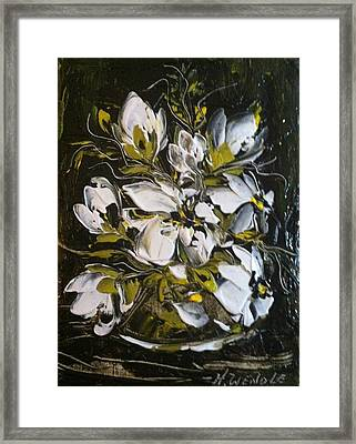 My White Roses Framed Print by Helen Wendle