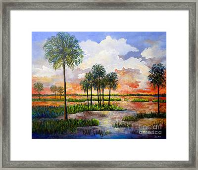 Framed Print featuring the painting Myakka Sunset by Lou Ann Bagnall