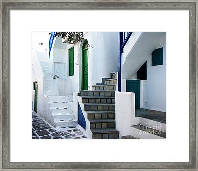 Mykonos Stairs Framed Print by Rebecca Margraf