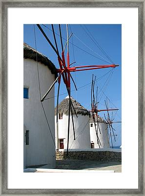 Framed Print featuring the photograph Mykonos Windmills by Carla Parris