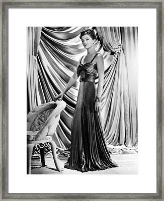 Myrna Loy Wearing Green And Yellow Gold Framed Print