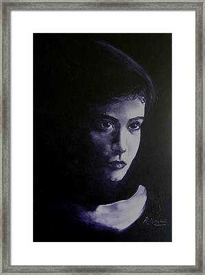Mystery Woman In Scarf Framed Print by Raynette Mitchell