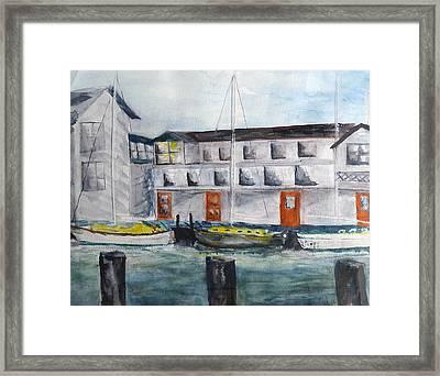 Mystic Harbor Framed Print by Linda Pope