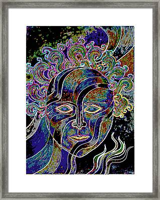 Framed Print featuring the drawing Mythic Mask by Nareeta Martin