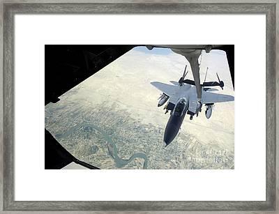 N F-15e Strike Eagle Receives Fuel Framed Print by Stocktrek Images
