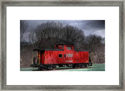 N W Caboose Framed Print by Todd Hostetter