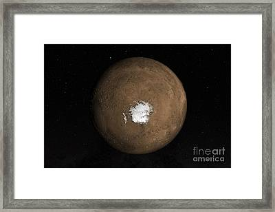 Nadir View Of The Martian South Pole Framed Print by Stocktrek Images