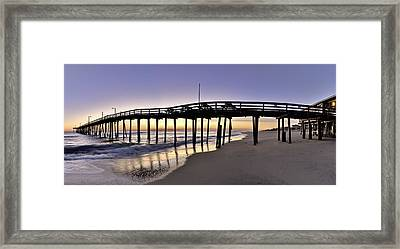 Nags Head Fishing Pier At Sunrise - Outer Banks Scenic Photography Framed Print by Rob Travis
