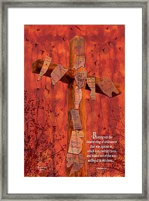 Nailing My Sins To The Cross Framed Print by Cindy Wright