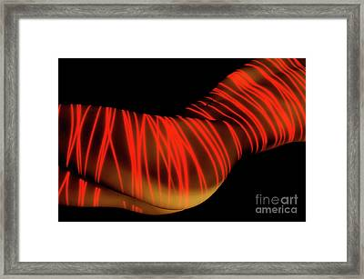 Naked Woman Body Painted With Laser Framed Print by Oleksiy Maksymenko