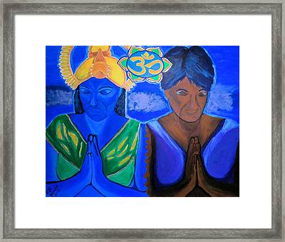 Framed Print featuring the painting Namaste-we Are One by Lisa Brandel