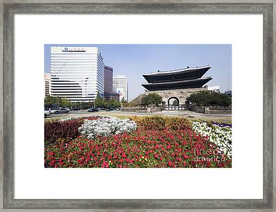 Namdaemun Gate With Flowers In Foreground Framed Print by Jeremy Woodhouse