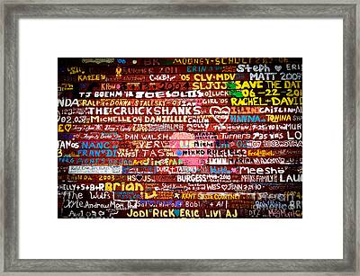 Names On A Barn Wall Framed Print by Mark David Zahn