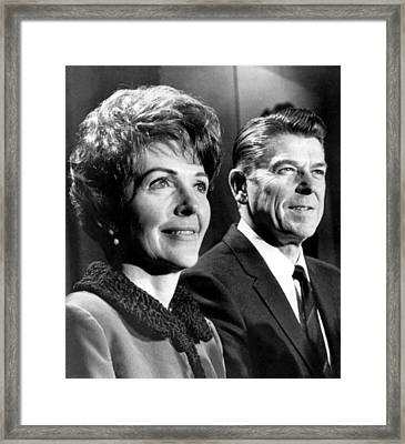 Nancy Reagan, Ronald Reagan At A Press Framed Print by Everett