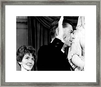 Nancy Reagan Watches As Ronald Reagan Framed Print by Everett