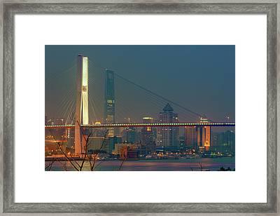 Nanpu Bridges At Sunset In Shanghai Framed Print by Blackstation