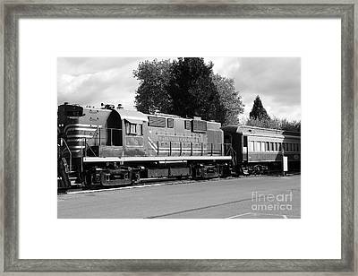 Napa Valley Railroad Wine Train Locomotive In Napa California Wine Country . Black And White . 7d899 Framed Print by Wingsdomain Art and Photography