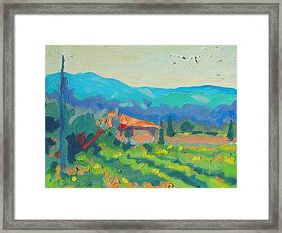 Napa Valley Vineyards With House And Hills Framed Print