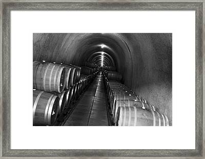 Napa Wine Barrels In Cellar Framed Print