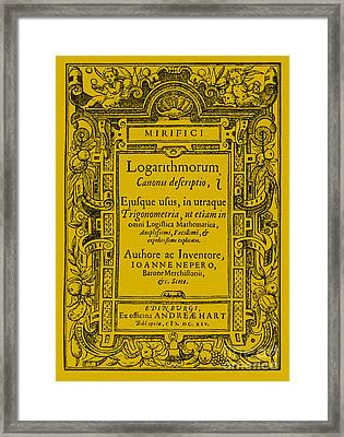 Napiers Treatise On Logarithms Framed Print by Photo Researchers