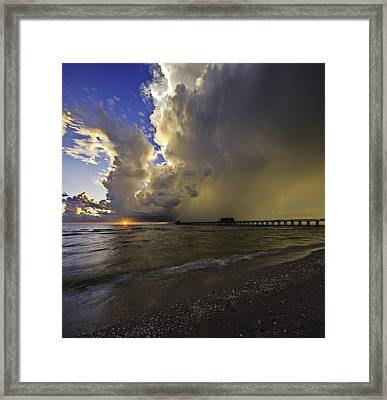 Naples Pier Storm Sunset Framed Print by Nick  Shirghio
