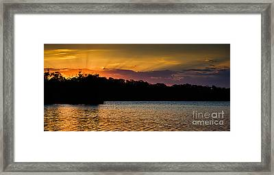 Narrabeen Sunset With Lenticular Rays Framed Print by John Buxton
