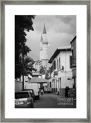 narrow city streets leading to Selimiye mosque formerly saint sophia cathedral nicosia lefkosia TRNC Framed Print