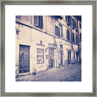 narrow street in Rome Framed Print by Joana Kruse