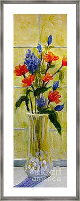 Framed Print featuring the painting Narrow Window Flowers by Gretchen Allen