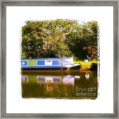 Narrowboat In Blue Framed Print