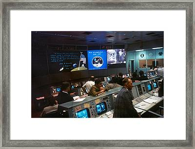 Nasa Mission Control During Apollo 11 Framed Print by Everett