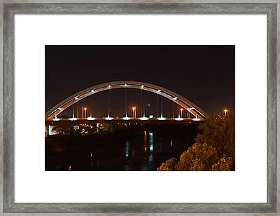 Nashville Bridge By Night Framed Print by Douglas Barnett