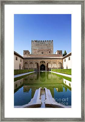 Nasrid Palace From Fish Pond Framed Print by Jane Rix
