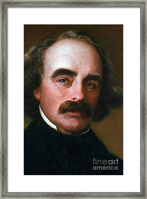 Nathaniel Hawthorne Framed Print by Photo Researchers