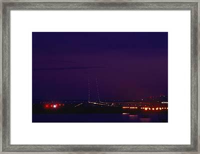 National Airport Runway At Night Framed Print by Medford Taylor