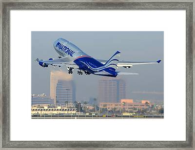 National Cargo Boeing 747-428 Bcf N919ca Phoenix Sky Harbor Arizona December 22 2011 Framed Print by Brian Lockett