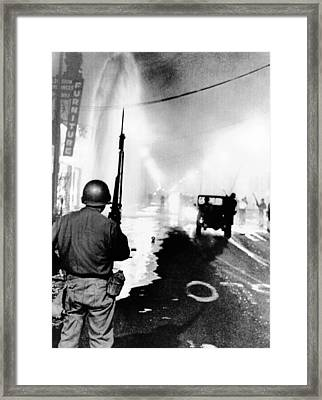 National Guard In Watts During The 1965 Framed Print by Everett