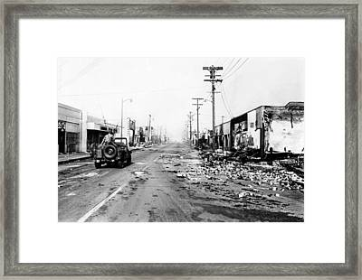 National Guard Jeep Patrols Watts Framed Print by Everett