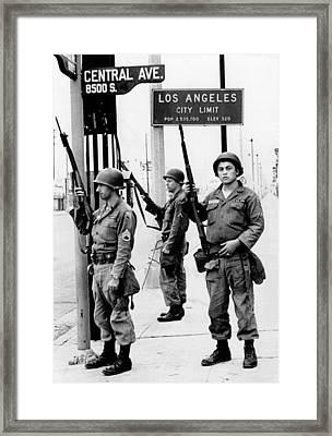 National Guardsmen At A Los Angeles Framed Print by Everett