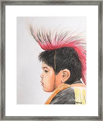 Native American Boy With Headdress Framed Print